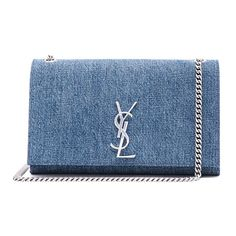 Saint Laurent Medium Denim Monogramme Chain Bag ($1,695) ❤ liked on Polyvore featuring bags, handbags, clutches, bolsas, purses, chain handle handbags, handbags purses, denim handbags, blue purse and chain purse