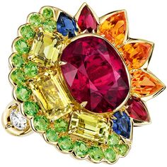 "DIOR. ""Dior Granville Rubellite"" ring - 750/1000 yellow gold, diamonds, rubellite, chrysoberyls, spessartite and demantoid garnets, rubies and sapphires. #DIOR #DIORGranville #DIORJewelry"