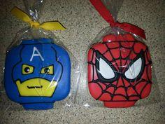lego superhero cookies, captain america and spiderman… Spiderman Cookies, Lego Cookies, Superhero Cookies, Lego Spiderman, Sugar Cookies, Cookie Time, 4th Birthday, Cake Decorating, Birthdays