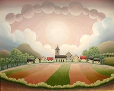 Village At Sunset: Ivan Rabuzin. Ivan Rabuzin, Ink In Water, Henri Rousseau, Naive Art, Outsider Art, Whimsical Art, Art Pages, Abstract Landscape, Figurative Art