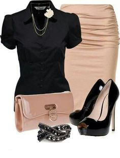 Work outfit - pale pink skirt and black blouse.