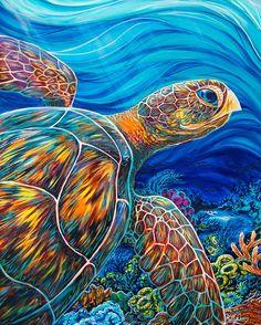 Beautiful Sea Turtles DIY Diamond Painting Cross Stitch Mosaic Painting Diamond Embroidery Home Decor or Gifts Sea Turtle Painting, Sea Turtle Art, Turtle Love, Sea Turtles, Cool Paintings, Animal Paintings, Animal Drawings, Art Drawings, Pop Art