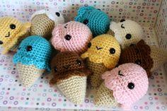ice cream cone keychains :D Crochet Keychain, Crochet Hooks, Crochet Toys Patterns, Stuffed Toys Patterns, Cute Crafts, Diy Crafts, Crochet Projects, Crochet Ideas, Ice Cream Party