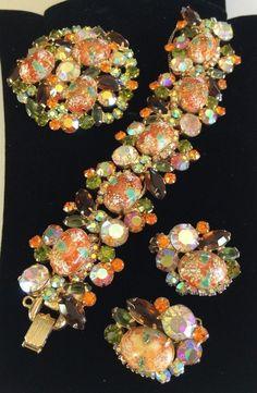 Gorgeous Vintage Juliana D&E Stippled/Easter Egg~Bracelet Brooch Earrings Set #JulianaDE