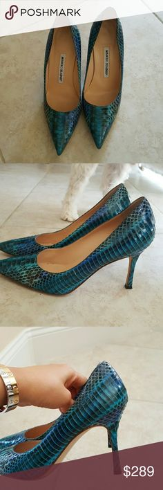 Manolo blahnik snakeskin pumps Manolo blahnik snakeskin pumps. Wore it twice.  Its very comfortable and an excellent condition Manolo Blahnik Shoes Heels