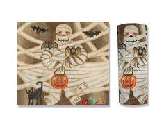 "Needlepoint Halloween Canvas - The Mummy Roll Up - 6 1/2"" t 18 mesh $52.00"