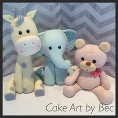 Fondant animal toppers. By Cake Art by Bec.