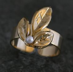 Gold Olive Leaves -Gold Olive Leaves Ring With White Pearl By Gazelle Jewelry