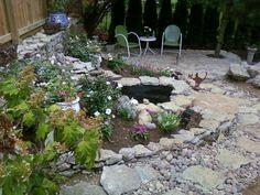 My home. The garden pond.