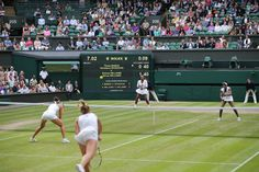 Timea Babos and Yaroslava Shvedova take on the Williams sisters, Serena and Venus on Centre Court for the ladies doubles final