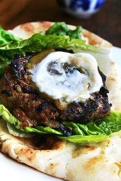 curried lamb burgers with chutney mustard & greek yogurt.