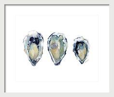 Three If By Sea - Art Print Sea Art, Close Your Eyes, Soft Colors, Oysters, Coastal, Vibrant, Fine Art, Art Prints, Painting