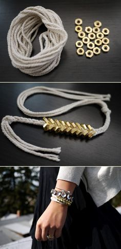 DIY: braided hex nut bracelet.