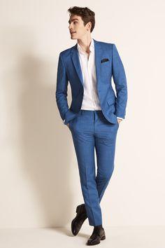 Smart Casual Suit, Mens Casual Suits, Mens Fashion Suits, Mens Suits, Male Fashion, Chinos Men Outfit, Hugo Boss Suit, Blue Suit Men, Men Formal