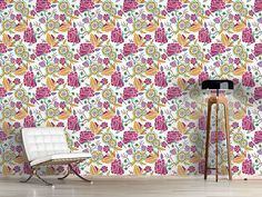 Design #Tapete Tageskunst Bouquet, Curtains, Shower, Prints, Design, Self Adhesive Wallpaper, Wall Papers, Kunst, Rain Shower Heads