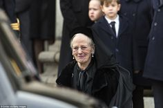 Queen Margrethe of Denmark departs from the funeral for her husband Prince Henrik at the Parliament Palace Church on February 2018 in Copenhagen, Denmark. The funeral was held as a private. Get premium, high resolution news photos at Getty Images Funeral Wear, Alexandra Manley, Danish Prince, Queen Margrethe Ii, Danish Royalty, Quito Ecuador, Danish Royal Family, Royal Jewels, Casa Real