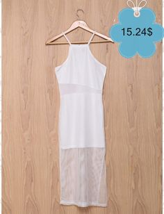 Alluring Spaghetti Strap Mesh Spliced White Dress For Women