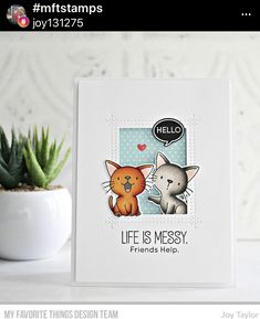 Hello Life, Polka Dot Paper, Polka Dots, Mft Stamps, Yarn Ball, Cat Cards, Clear Stamps, Making Ideas, I Card
