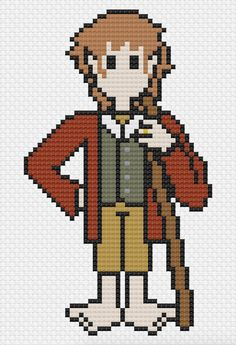 Bilbo Baggins - Cross Stitch Pattern http://etsy.me/2n30Elh #etsy #crossstitch #bilbobaggins #thehobbit #lordoftherings #tolkien #fantasy #literature #books