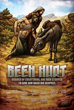 Been Hurt ~ Go and Do Likewise (the Good Samaritan) Christian Comics, Christian Art, Parable Of The Talents, Parables Of Jesus, The Bible Movie, Bible Illustrations, Christ The King, Biblical Art, Jesus Art