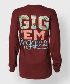 """This longsleeve maroon shirt reads """"Gig 'Em Aggies"""" on the back in a floral and plaid pattern. The front has a blue patterned block ATM."""