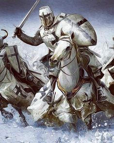 Fantasy Art Engine — fantasyartwatch: Knights on Horses by Mariusz. Knight On Horse, Knight Art, Fantasy Dragon, Fantasy Warrior, Medieval Knight, Medieval Fantasy, Templar Knight Tattoo, Knights Templar History, Medieval Tattoo