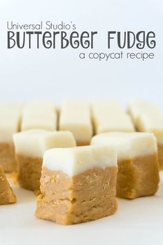 This delicious Butterbeer Fudge with a hint of rum is the perfect copycat version of the Honeydukes treat at Universal Studios.This delicious Butterbeer Fudge with a hint of rum is the perfect copycat version of the Honeydukes treat at Universal Studios. Fudge Recipes, Candy Recipes, Sweet Recipes, Dessert Recipes, Copycat Recipes, Shortbread, Just Desserts, Delicious Desserts, Birthday Cakes