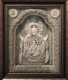 macrame, macrame art, St. Nicolas icons, icons art, religious icons, russian religious icons, icons art. Applied art. Mother of God of The Sign. Denshchikov Vladimir