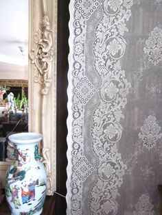 """""""Jessica"""" Victorian Style Cream Cotton Lace Curtain Panel Ready To Hang - 35"""" x 88"""""""