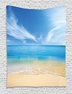Ambesonne Ocean Decor Collection, Sand Beach in Summer at a Hot Island with Clean Sky and Sea Picture, Bedroom Living Kids Girls Boys Room Dorm Accessories Wall Hanging Tapestry, Beige Blue Aqua