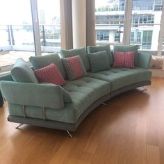 Two seating sectional sofa bracketed together to create a contemporary curved sofa measuring 340 cm at the widest (back) and 258 cm at the narrowest (front). Sectional Sofa, Sofas, Couch, Curved Sofa, Contemporary, Create, Furniture, Home Decor, Chair