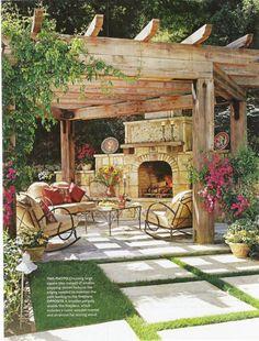 Arbors  Pergulas - love this rustic wood choice landscape-deck-ideas