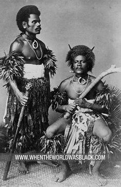 Two Fijian warriors, photograph by Burton Brothers, 1884