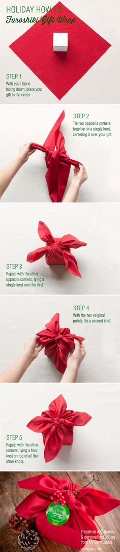 How to Furoshiki gift wrap. Japanese tradition of clothing wrapping is beautiful and Eco friendly.