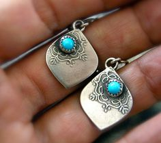 RESERVED Turquoise Mandala Silver Earrings