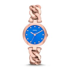 Olive Three-Hand Stainless Steel Watch – Rose Gold-Tone and Pacific Blue ES3576   FOSSIL $115