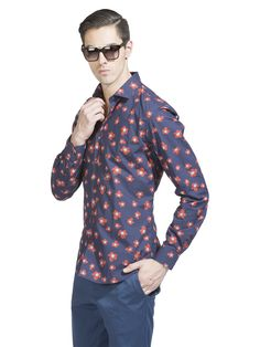 """The Return of the Flower Child"" get this look at www.rarerabbit.in #flowerprint #casualshirt"