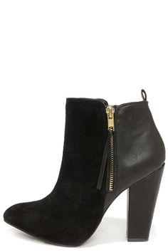 suede leather black ankle boots