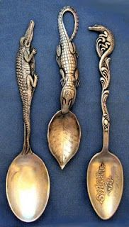 silver florida souvenir alligator spoons c. Antique Show, Vintage Silver, Antique Silver, Objets Antiques, Spoon Collection, Bronze, Vintage Florida, Silver Spoons, Metal Art