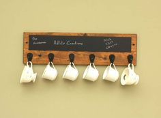 A GREAT Mother's Day Gift idea!!  Coffee Mug Rack 6 hook with Chalkboard Coffee by AdliteCreations