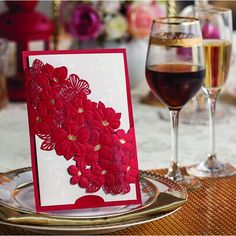 Wholesale Wedding Invitations - Buy Red Elegant Flower Wedding Invitations 2014 Laser-cut Invitation Card with Envelope Seal Free Personalized Printing, $1.24 | DHgate.com