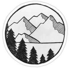 Views' Sticker by smalltownnc - -'Mountain Views' Sticker by smalltownnc - - Mountain River Vinyl Sticker Laptop Waterbottle Car Window Cool Art Drawings, Pencil Art Drawings, Art Drawings Sketches, Doodle Drawings, Doodle Art, Super Easy Drawings, Beautiful Easy Drawings, Marshmello Wallpapers, Circle Drawing