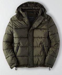 AEO Puffer Jacket (Coat), Men's, Olive Green