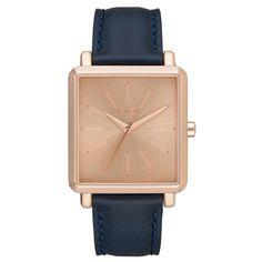 Nixon Women's K Squared Blue Leather Quartz Watch Pink Jewelry, Jewelry Accessories, Jewelry Box, Jewelry Watches, Pink Watch, Style Minimaliste, Stylish Watches, Unisex, Square Watch