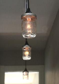 42 Ideas For Track Lighting Kitchen Mason Jars Mason Jar Pendant Light, Mason Jar Light Fixture, Diy Pendant Light, Diy Light Fixtures, Track Lighting Fixtures, Industrial Light Fixtures, Industrial Pendant Lights, Mason Jar Lighting, Pendant Lighting