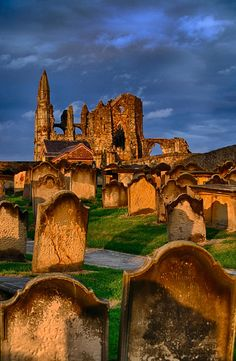 Whitby Abbey and graveyard