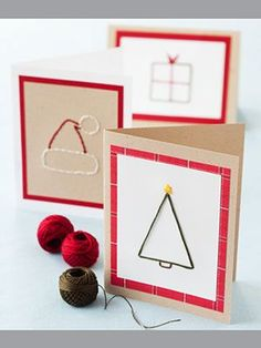 Christmas Greeting Cards made w/ Embroidery Floss