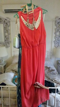 Coral maxi with faux pearl beaded collar. Pastel peach thong/sandal with embellishments