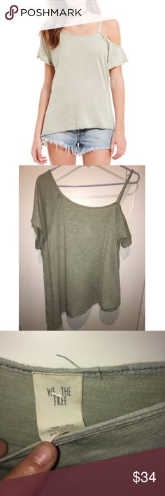 NWT Free People Coraline Cold Shoulder Tee T Shirt NWT Free People Coraline Cold Shoulder Tee S T Shirt Top Mint We the Free  small hole on the side as pictured Free People Tops Tees - Short Sleeve