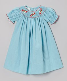 Clover could still fit in the largest size... perfect for Christmas in Australia. Look at this #zulilyfind! Turquoise Peppermints Bishop Dress - Infant, Toddler & Girls by Petite Palace #zulilyfinds
